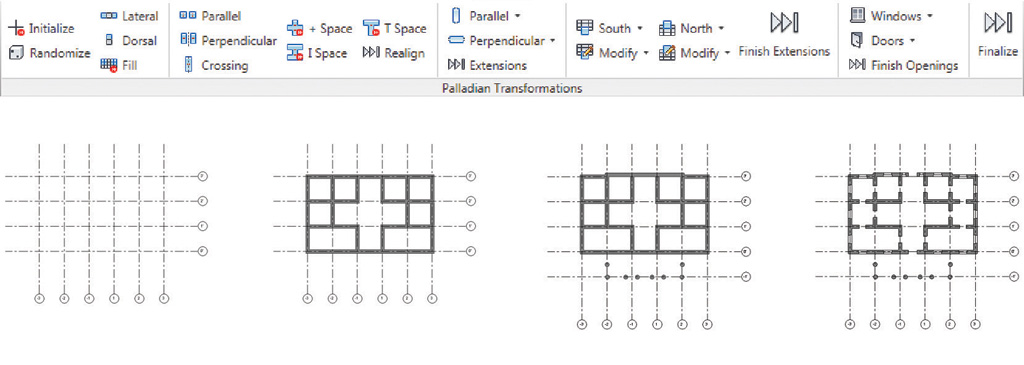 A montage showing the Revit Add-In and several steps of a derivation