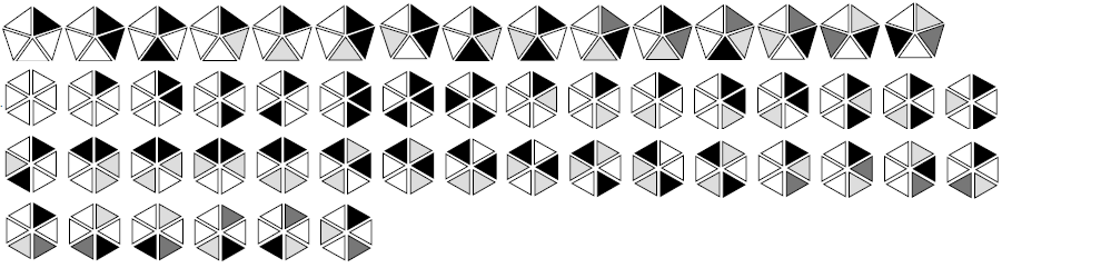 Non-equivalent coloring schemes for the regular n-gons, for n=4 and n=5